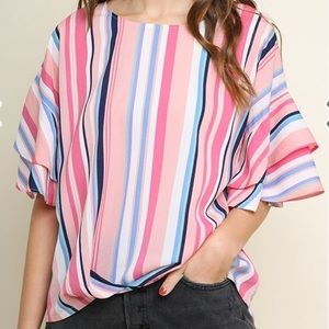 Umgee Multicolor Striped Round Neck Top